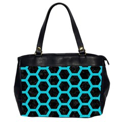 HEXAGON2 BLACK MARBLE & TURQUOISE COLORED PENCIL (R) Office Handbags (2 Sides)