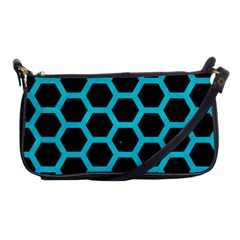 HEXAGON2 BLACK MARBLE & TURQUOISE COLORED PENCIL (R) Shoulder Clutch Bags