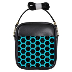 HEXAGON2 BLACK MARBLE & TURQUOISE COLORED PENCIL (R) Girls Sling Bags