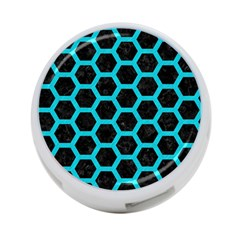 HEXAGON2 BLACK MARBLE & TURQUOISE COLORED PENCIL (R) 4-Port USB Hub (One Side)