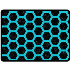 HEXAGON2 BLACK MARBLE & TURQUOISE COLORED PENCIL (R) Fleece Blanket (Large)
