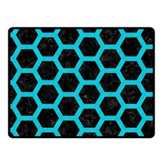 HEXAGON2 BLACK MARBLE & TURQUOISE COLORED PENCIL (R) Fleece Blanket (Small)