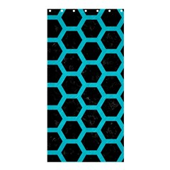 HEXAGON2 BLACK MARBLE & TURQUOISE COLORED PENCIL (R) Shower Curtain 36  x 72  (Stall)
