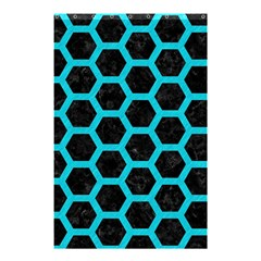 HEXAGON2 BLACK MARBLE & TURQUOISE COLORED PENCIL (R) Shower Curtain 48  x 72  (Small)