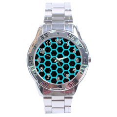 HEXAGON2 BLACK MARBLE & TURQUOISE COLORED PENCIL (R) Stainless Steel Analogue Watch