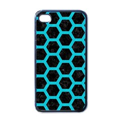 HEXAGON2 BLACK MARBLE & TURQUOISE COLORED PENCIL (R) Apple iPhone 4 Case (Black)
