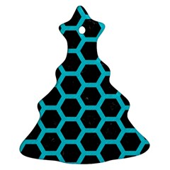 HEXAGON2 BLACK MARBLE & TURQUOISE COLORED PENCIL (R) Ornament (Christmas Tree)