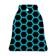 HEXAGON2 BLACK MARBLE & TURQUOISE COLORED PENCIL (R) Ornament (Bell)