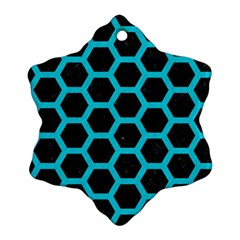 HEXAGON2 BLACK MARBLE & TURQUOISE COLORED PENCIL (R) Snowflake Ornament (Two Sides)