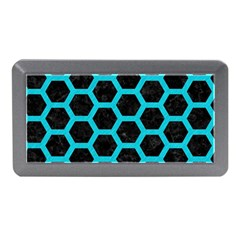 HEXAGON2 BLACK MARBLE & TURQUOISE COLORED PENCIL (R) Memory Card Reader (Mini)