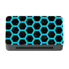 HEXAGON2 BLACK MARBLE & TURQUOISE COLORED PENCIL (R) Memory Card Reader with CF
