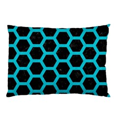 HEXAGON2 BLACK MARBLE & TURQUOISE COLORED PENCIL (R) Pillow Case (Two Sides)