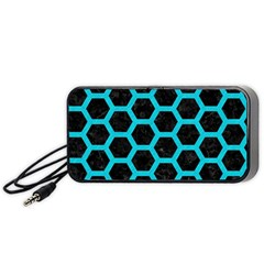 Hexagon2 Black Marble & Turquoise Colored Pencil (r) Portable Speaker by trendistuff