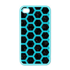 HEXAGON2 BLACK MARBLE & TURQUOISE COLORED PENCIL (R) Apple iPhone 4 Case (Color)