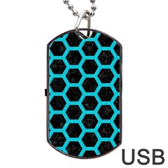 HEXAGON2 BLACK MARBLE & TURQUOISE COLORED PENCIL (R) Dog Tag USB Flash (Two Sides)