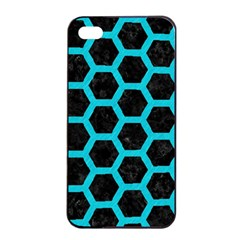 HEXAGON2 BLACK MARBLE & TURQUOISE COLORED PENCIL (R) Apple iPhone 4/4s Seamless Case (Black)