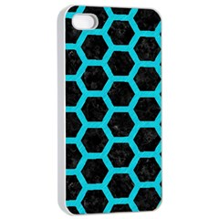 HEXAGON2 BLACK MARBLE & TURQUOISE COLORED PENCIL (R) Apple iPhone 4/4s Seamless Case (White)