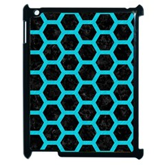 Hexagon2 Black Marble & Turquoise Colored Pencil (r) Apple Ipad 2 Case (black) by trendistuff