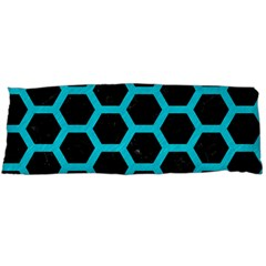 HEXAGON2 BLACK MARBLE & TURQUOISE COLORED PENCIL (R) Body Pillow Case (Dakimakura)