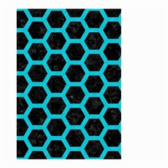 HEXAGON2 BLACK MARBLE & TURQUOISE COLORED PENCIL (R) Small Garden Flag (Two Sides)