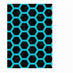 HEXAGON2 BLACK MARBLE & TURQUOISE COLORED PENCIL (R) Large Garden Flag (Two Sides)