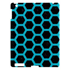 HEXAGON2 BLACK MARBLE & TURQUOISE COLORED PENCIL (R) Apple iPad 3/4 Hardshell Case