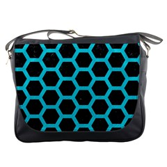 HEXAGON2 BLACK MARBLE & TURQUOISE COLORED PENCIL (R) Messenger Bags