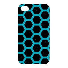 HEXAGON2 BLACK MARBLE & TURQUOISE COLORED PENCIL (R) Apple iPhone 4/4S Premium Hardshell Case
