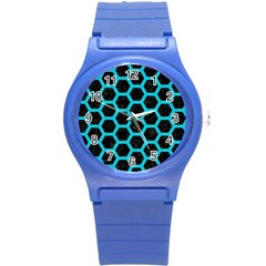 HEXAGON2 BLACK MARBLE & TURQUOISE COLORED PENCIL (R) Round Plastic Sport Watch (S)