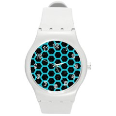 HEXAGON2 BLACK MARBLE & TURQUOISE COLORED PENCIL (R) Round Plastic Sport Watch (M)