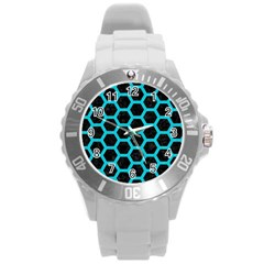 HEXAGON2 BLACK MARBLE & TURQUOISE COLORED PENCIL (R) Round Plastic Sport Watch (L)