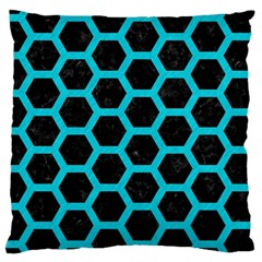 HEXAGON2 BLACK MARBLE & TURQUOISE COLORED PENCIL (R) Large Cushion Case (Two Sides)