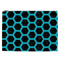 HEXAGON2 BLACK MARBLE & TURQUOISE COLORED PENCIL (R) Cosmetic Bag (XXL)