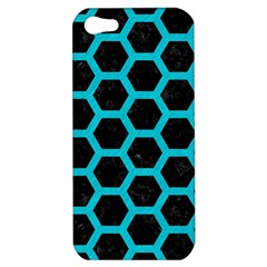 HEXAGON2 BLACK MARBLE & TURQUOISE COLORED PENCIL (R) Apple iPhone 5 Hardshell Case