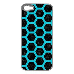 HEXAGON2 BLACK MARBLE & TURQUOISE COLORED PENCIL (R) Apple iPhone 5 Case (Silver)