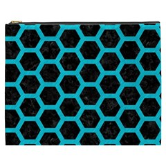 HEXAGON2 BLACK MARBLE & TURQUOISE COLORED PENCIL (R) Cosmetic Bag (XXXL)