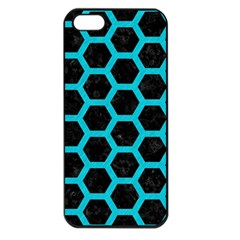 HEXAGON2 BLACK MARBLE & TURQUOISE COLORED PENCIL (R) Apple iPhone 5 Seamless Case (Black)