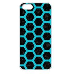HEXAGON2 BLACK MARBLE & TURQUOISE COLORED PENCIL (R) Apple iPhone 5 Seamless Case (White)