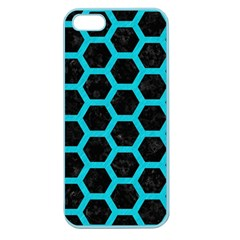 HEXAGON2 BLACK MARBLE & TURQUOISE COLORED PENCIL (R) Apple Seamless iPhone 5 Case (Color)