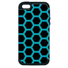 Hexagon2 Black Marble & Turquoise Colored Pencil (r) Apple Iphone 5 Hardshell Case (pc+silicone) by trendistuff