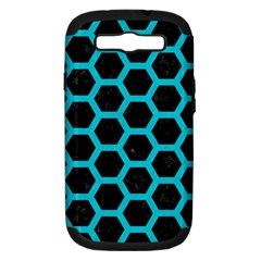 Hexagon2 Black Marble & Turquoise Colored Pencil (r) Samsung Galaxy S Iii Hardshell Case (pc+silicone) by trendistuff