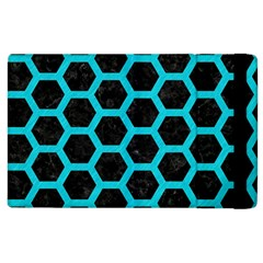 HEXAGON2 BLACK MARBLE & TURQUOISE COLORED PENCIL (R) Apple iPad 2 Flip Case