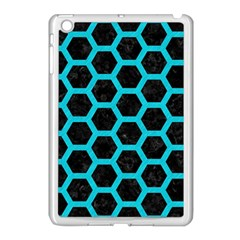 HEXAGON2 BLACK MARBLE & TURQUOISE COLORED PENCIL (R) Apple iPad Mini Case (White)