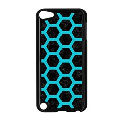 HEXAGON2 BLACK MARBLE & TURQUOISE COLORED PENCIL (R) Apple iPod Touch 5 Case (Black)