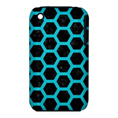 HEXAGON2 BLACK MARBLE & TURQUOISE COLORED PENCIL (R) iPhone 3S/3GS