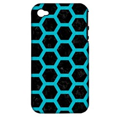 HEXAGON2 BLACK MARBLE & TURQUOISE COLORED PENCIL (R) Apple iPhone 4/4S Hardshell Case (PC+Silicone)