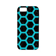 HEXAGON2 BLACK MARBLE & TURQUOISE COLORED PENCIL (R) Apple iPhone 5 Classic Hardshell Case (PC+Silicone)