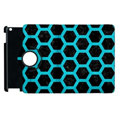 HEXAGON2 BLACK MARBLE & TURQUOISE COLORED PENCIL (R) Apple iPad 2 Flip 360 Case