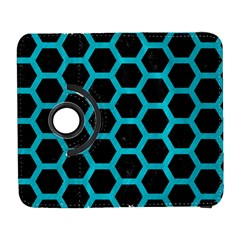 HEXAGON2 BLACK MARBLE & TURQUOISE COLORED PENCIL (R) Galaxy S3 (Flip/Folio)