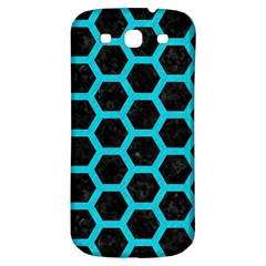 HEXAGON2 BLACK MARBLE & TURQUOISE COLORED PENCIL (R) Samsung Galaxy S3 S III Classic Hardshell Back Case